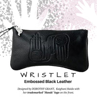 Dorothy Grant Black Embossed Leather Wristlet - Social Media Image