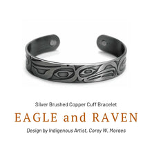 Load image into Gallery viewer, Eagle and Raven Silver Brushed Copper Cuff Bracelet designed by Corey W. Moraes - Social Media Image