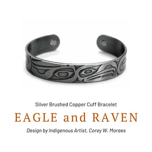 Eagle and Raven Silver Brushed Copper Cuff Bracelet designed by Corey W. Moraes - Social Media Image