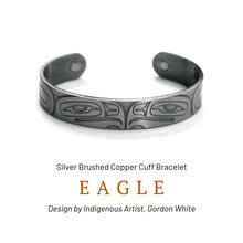 Load image into Gallery viewer, Eagle Silver Brushed Copper Cuff Bracelet designed by Gordon White - Social Media Image