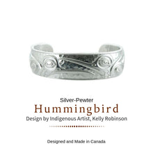 Load image into Gallery viewer, Silver and Pewter Hummingbird Cuff Bracelet Designed by Northwest Artist Kelly Robinson - Social Media Image