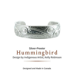 Silver and Pewter Hummingbird Cuff Bracelet Designed by Northwest Artist Kelly Robinson - Social Media Image