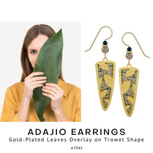 Load image into Gallery viewer, Adajio Earrings – Gold-Plated Leaves Overlay on Trowel Shape - Social Media Image