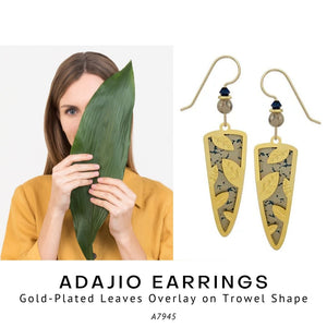 Adajio Earrings – Gold-Plated Leaves Overlay on Trowel Shape - Social Media Image