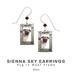 Sienna Sky Earrings - Pug in Woof Frame - Social Media Image