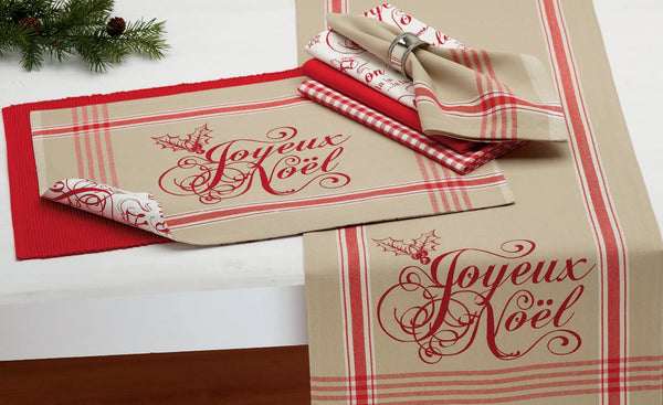 Cloth Table Napkin in Joyeux Noel Plaid with Optional Table Accessories