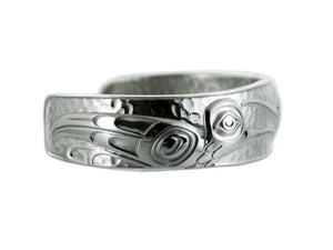Silver and Pewter Hummingbird Cuff Bracelet Designed by Northwest Artist Kelly Robinson - Side View