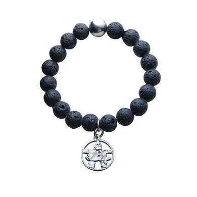 Lava Bead Stretch Bracelet with Silver Pewter Inukshuk Charm