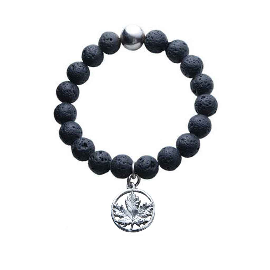 Lava Bead Stretch Bracelet with Silver Pewter Maple Leaf Charm