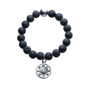 Lava Bead Stretch Bracelet with Silver Pewter Sun Mask Charm