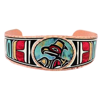 Native Raven Design Bracelet features a colorful native-inspired design.