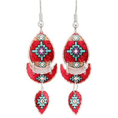 Native Textile Design Multiple Dangle Earrings with three hanging sections.