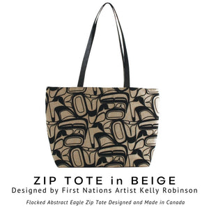 Abstract Eagle Design Zip Tote Bag in Beige by Kelly Robinson - Social Media Image