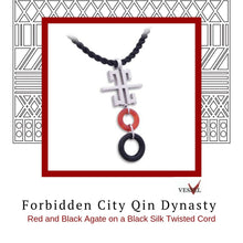 Load image into Gallery viewer, Zen Pendant - Forbidden City in Rhodium Plated Sterling Silver with Red and Black Agate - Social Media Image