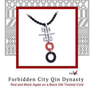 Zen Pendant - Forbidden City in Rhodium Plated Sterling Silver with Red and Black Agate - Social Media Image