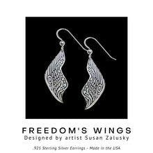 Load image into Gallery viewer, Freedom's Wings .925 Sterling Silver Earrings from Metal Arts Group - Social Media Image