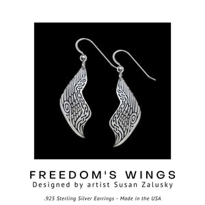 Freedom's Wings .925 Sterling Silver Earrings from Metal Arts Group - Social Media Image