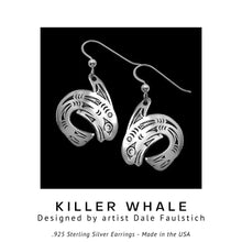 Load image into Gallery viewer, Killer Whale .925 Sterling Silver Earrings from Metal Arts Group - Social Media Image
