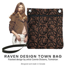 Load image into Gallery viewer, Raven Design Town Bag in Brown designed by Connie Dickens - Social Media Image