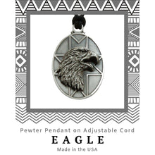 Load image into Gallery viewer, Eagle Pendant Necklace in Pewter with Adjustable Cord - Social Media Image