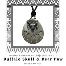 Load image into Gallery viewer, Buffalo Skull and Bear Paw Pendant Necklace in Pewter with Adjustable Cord - Social Media Image