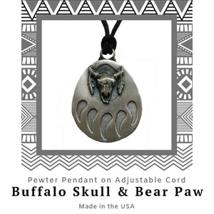 Buffalo Skull and Bear Paw Pendant Necklace in Pewter with Adjustable Cord - Social Media Image