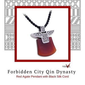 Zen Pendant - Forbidden City Qin Dynasty in Sterling Silver with Red Agate