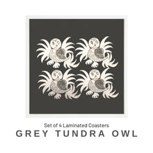 Load image into Gallery viewer, Coaster Set - Grey Tundra Owl - Social Media Image