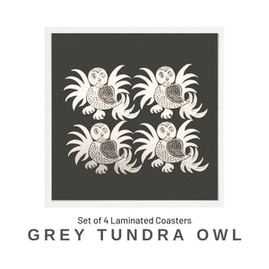 Coaster Set - Grey Tundra Owl - Social Media Image