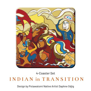"Coaster Set - ""Indian in Transition"" by Daphne Odjig - Social Media Image"