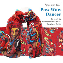 Load image into Gallery viewer, Pow Wow Dancer Scarf designed by Potawatomi Artist Daphne Odjig - Social Media Image
