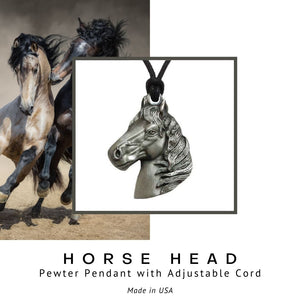 Horse Head Pendant Necklace in Pewter with Adjustable Cord - Social Media Image