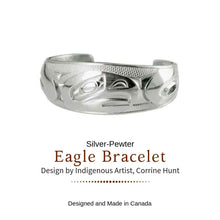 Load image into Gallery viewer, Silver and Pewter Eagle Bracelet Designed by Corrine Hunt - Social Media Image