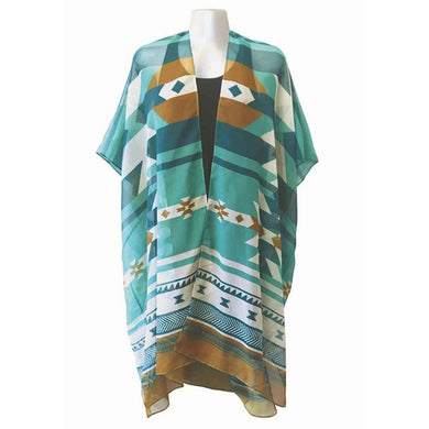 Sheer Wrap with Visions of our Ancestors Design in Teal and Tan - Front