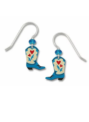Sienna Sky Earrings - Blue Cowgirl Boots with Red Hearts