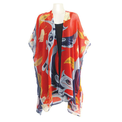 Sheer Wrap with Dance of the Hummingbirds Design in Red and Blue - Front