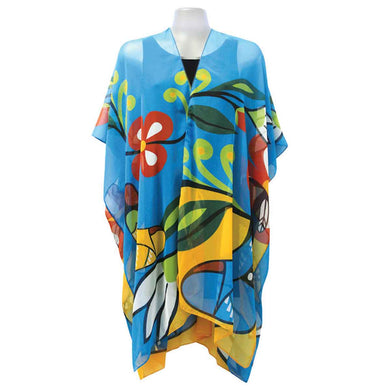 Sheer Wrap with Her Jingle Dress Design in Blue, Gold and Red - Front