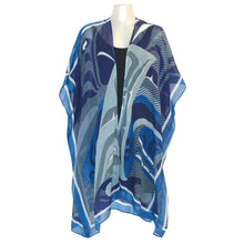 Load image into Gallery viewer, Sheer Wrap with The Pod Design in Blue, Gray and White - Front