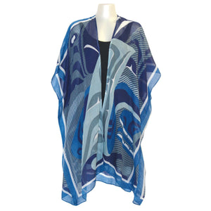 Sheer Wrap with The Pod Design in Blue, Gray and White - Front