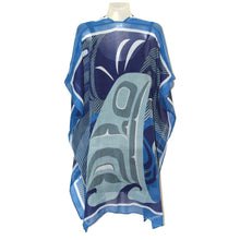 Load image into Gallery viewer, Sheer Wrap with The Pod Design in Blue, Gray and White - Back