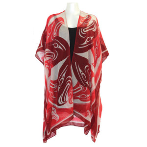 Sheer Wrap with Eagle Circle Sheer Wrap with Eagle Circle Design in Red and White - Front View