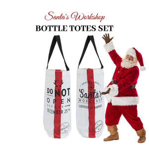 Santa's Workshop Bottle Totes (Pair) - Social Media Image