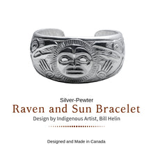 Load image into Gallery viewer, Raven and Sun Silver-Pewter Cuff Bracelet designed by Bill Helin - Social Media Image