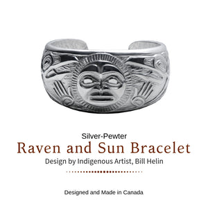 Raven and Sun Silver-Pewter Cuff Bracelet designed by Bill Helin - Social Media Image