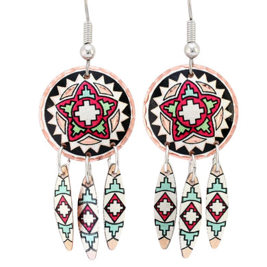 Star Design Native Dreamcatcher Earrings with a native-inspired design.