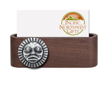 Load image into Gallery viewer, Wooden Business Card Holder with Fine Pewter Sun Mask Emblem - With Business Card
