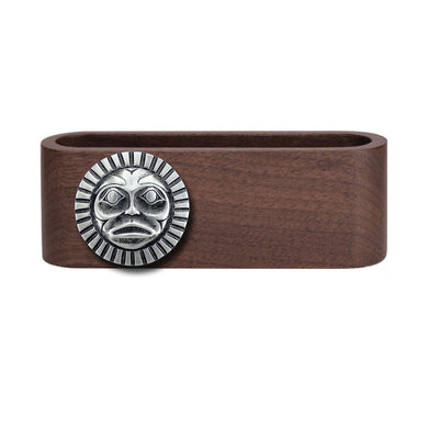 Wooden Business Card Holder with Fine Pewter Sun Mask Emblem
