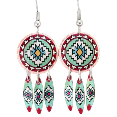 Textile Design Native Dreamcatcher Earrings with a lovely native-inspired textile design.