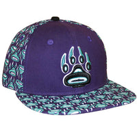 Snapback Hat with Wolf Spirit design by William Cooper, Tsimshian