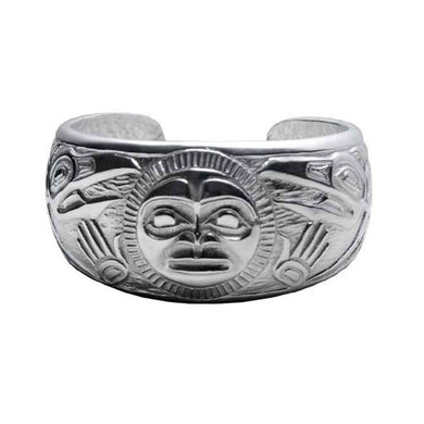 Raven and Sun Silver-Pewter Cuff Bracelet designed by Bill Helin